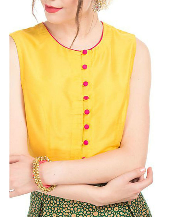 Yellow crop top and green skirt with block prints 2