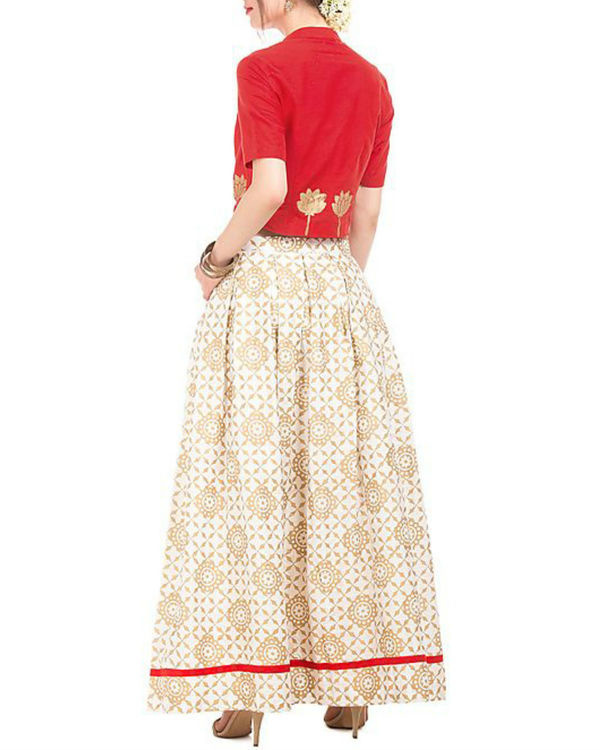 Red and white crop top and skirt with golden block prints 1