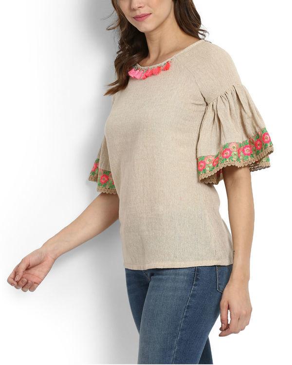 Dhanak ruffle sleeve embroidered top 2