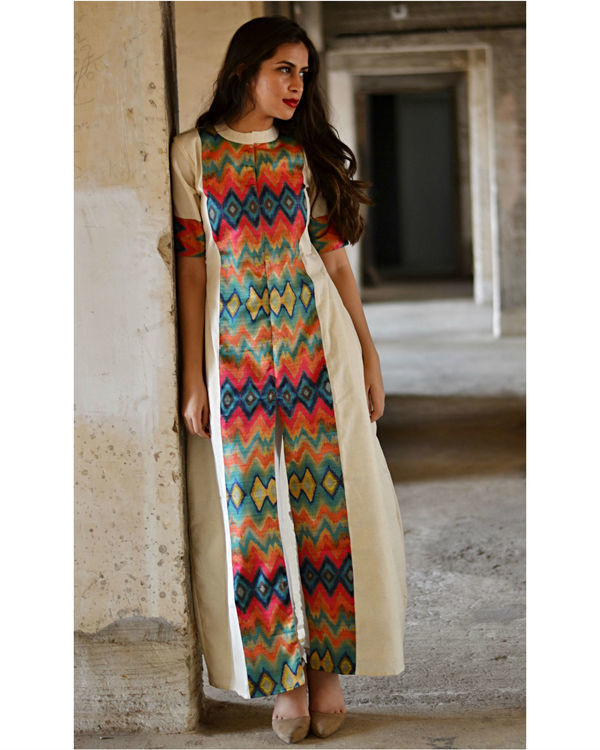 Multi color zig zag slit maxi dress 1