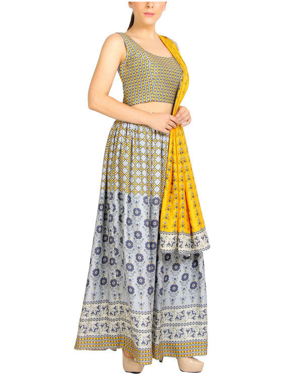 Mustard and grey lehenga set 1