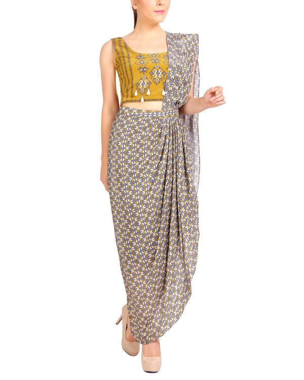 Mustard and grey draped sari 1