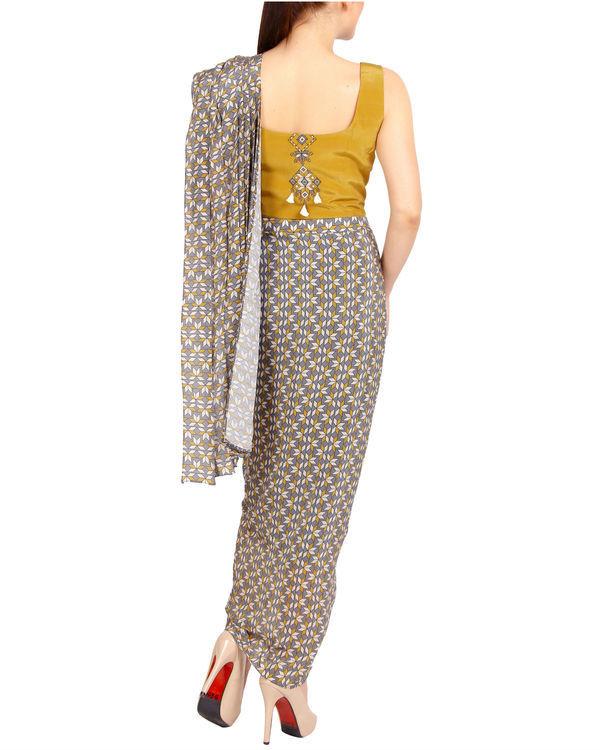 Mustard and grey draped sari 3