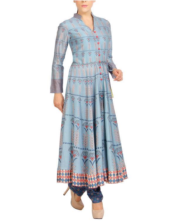 Flared blue tasseled kurta set 2
