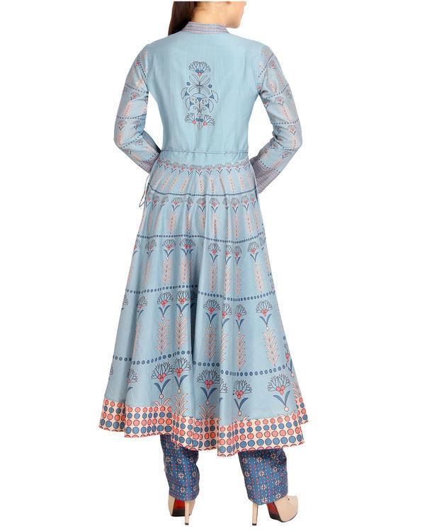 Flared blue tasseled kurta set 3