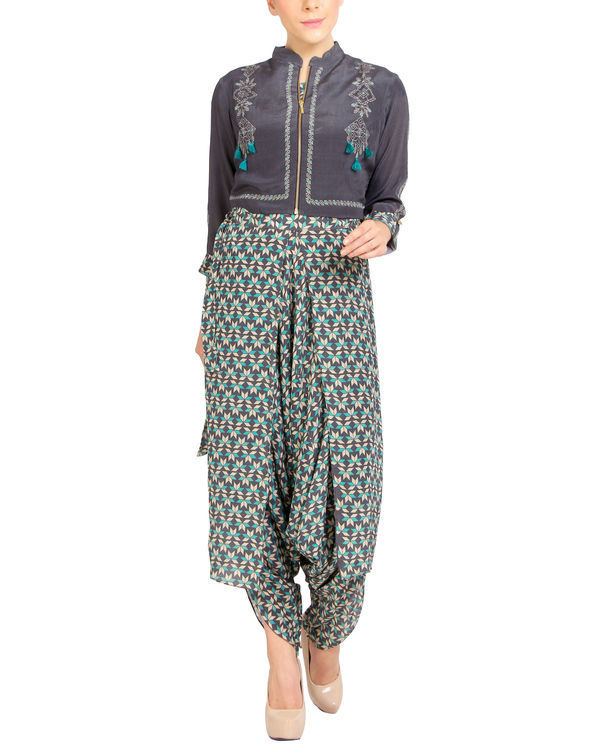 Printed dhoti jumpsuit with a zipper jacket 3