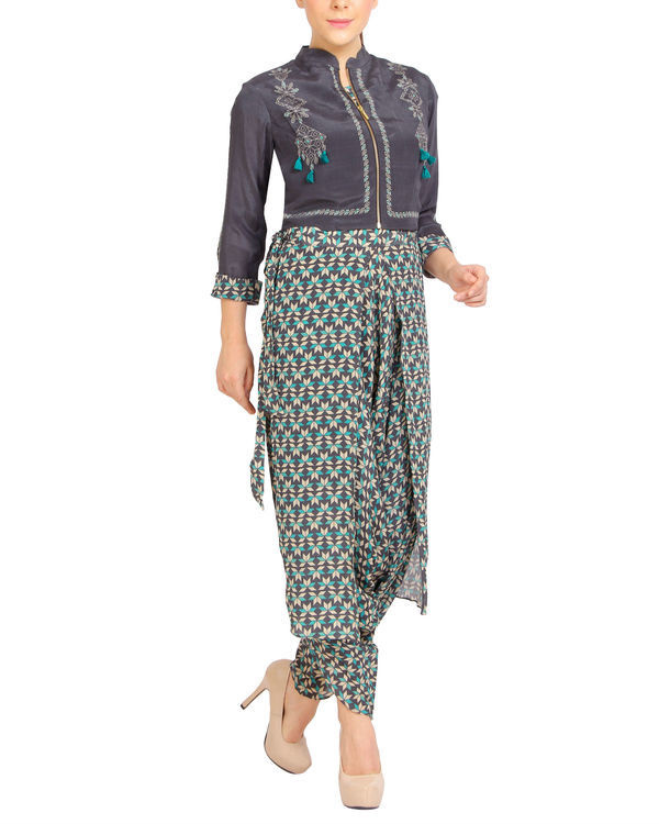 Printed dhoti jumpsuit with a zipper jacket 1