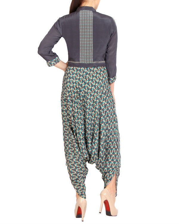Printed dhoti jumpsuit with a zipper jacket 2