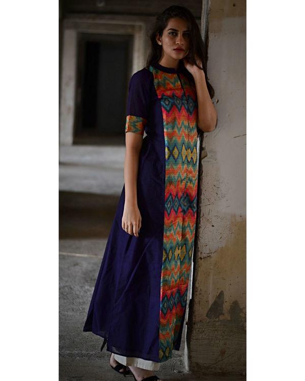 Navy blue multi color zig zag slit maxi dress 1
