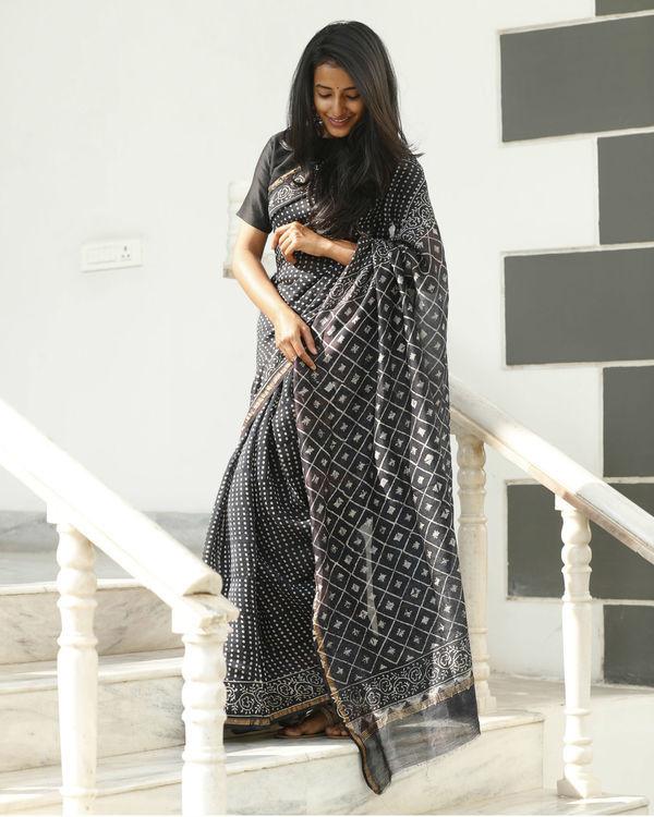 Black chanderi cotton sari 1