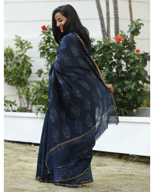 Indigo square chanderi cotton sari 2