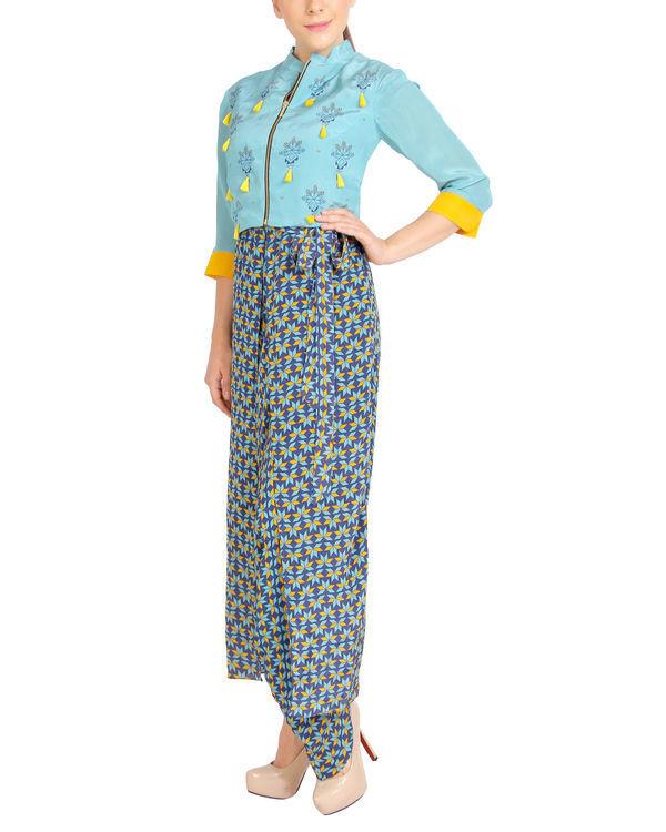 Blue harem jumpsuit with tasseled zipper jacket 2