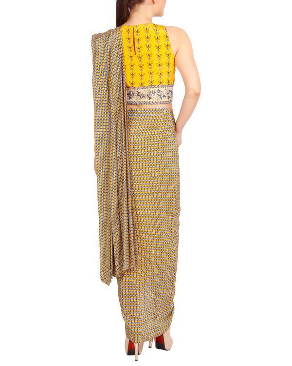 Printed yellow draped sari 2