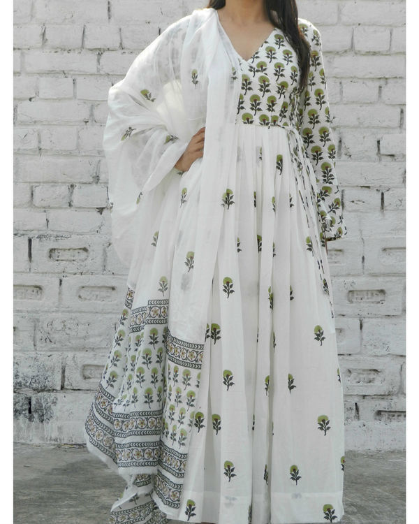 Olive green block printed angrakha suit with dupatta 3