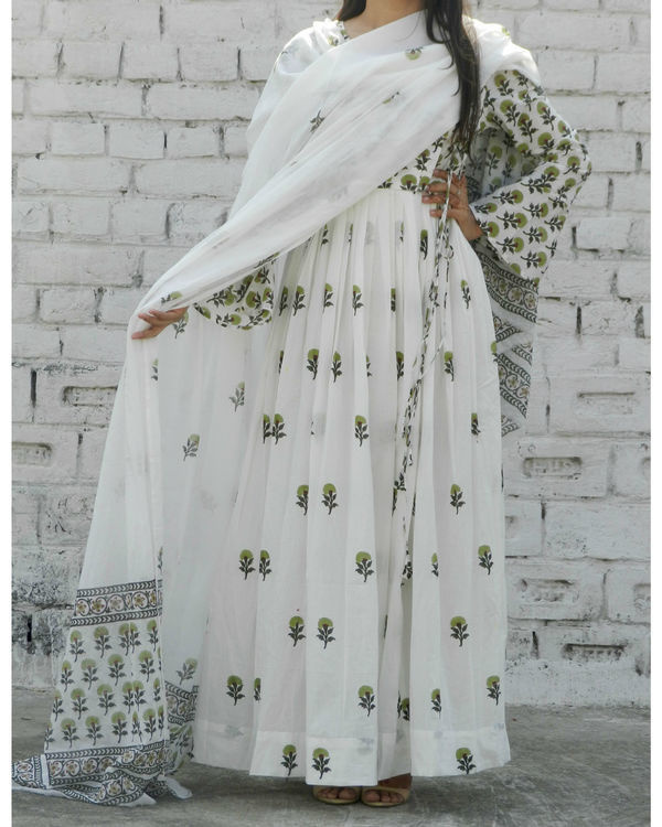 Olive green block printed angrakha suit with dupatta 1