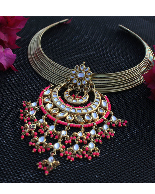 Sonam pink chand choker necklace 1