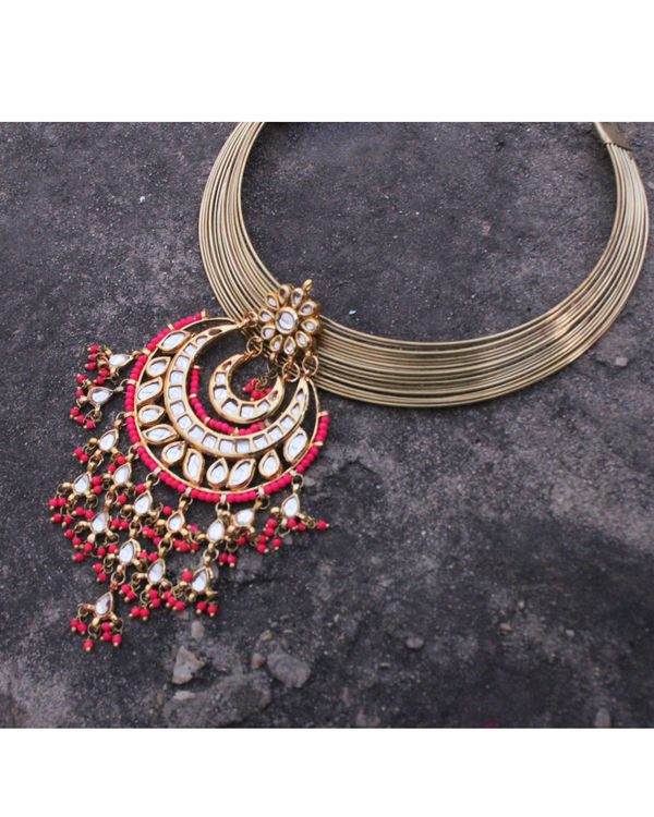 Sonam pink chand choker necklace 2