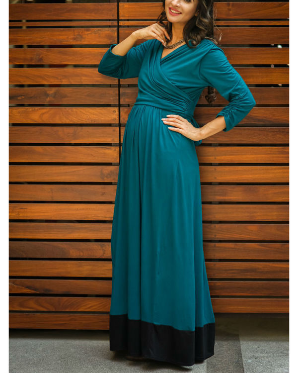 Elegant teal front wrap maternity & nursing dress 1