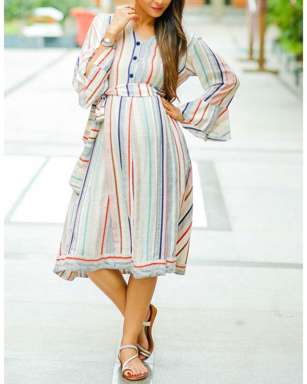Striped linen front button maternity & nursing dress 1