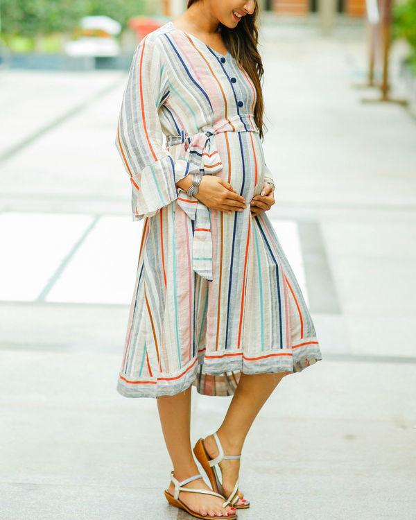 Striped linen front button maternity & nursing dress 2