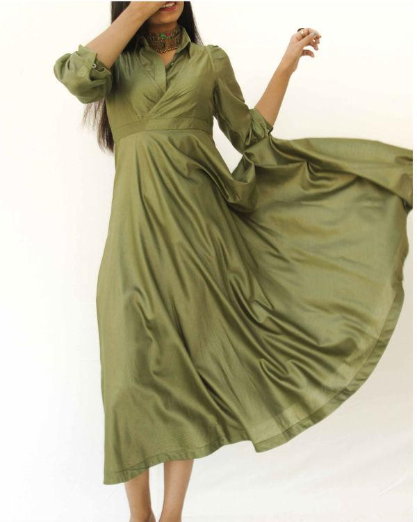 Olive green magical walk dress 3
