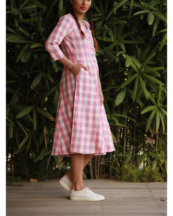 Quirky pink checks dress 1