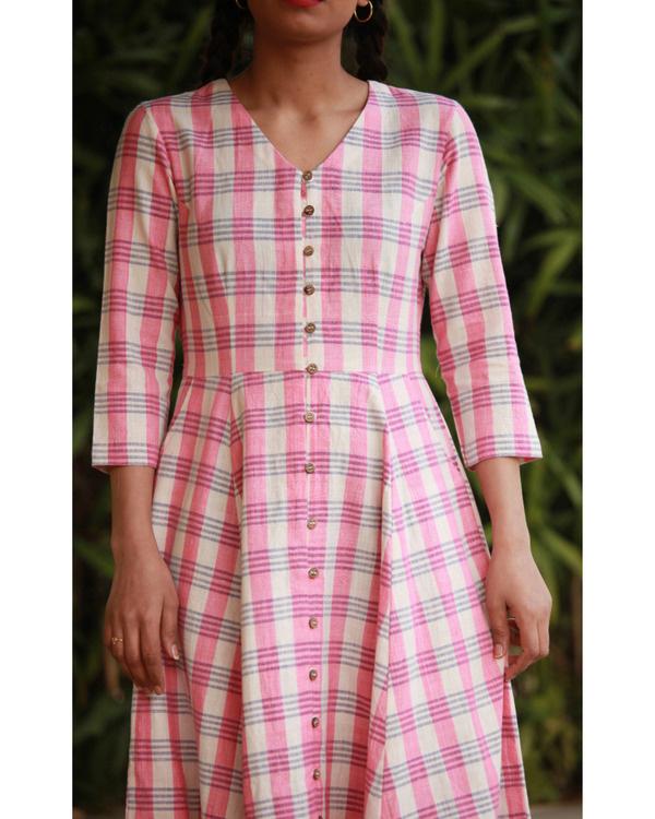 Quirky pink checks dress 3