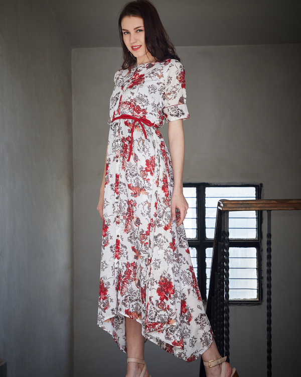 Red and ash asymmetrical dress 1