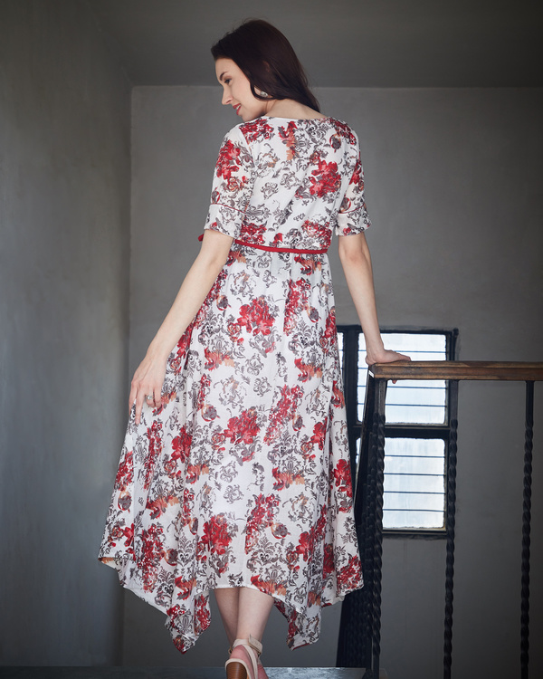 Red and ash asymmetrical dress 2