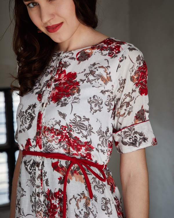 Red and ash asymmetrical dress 3