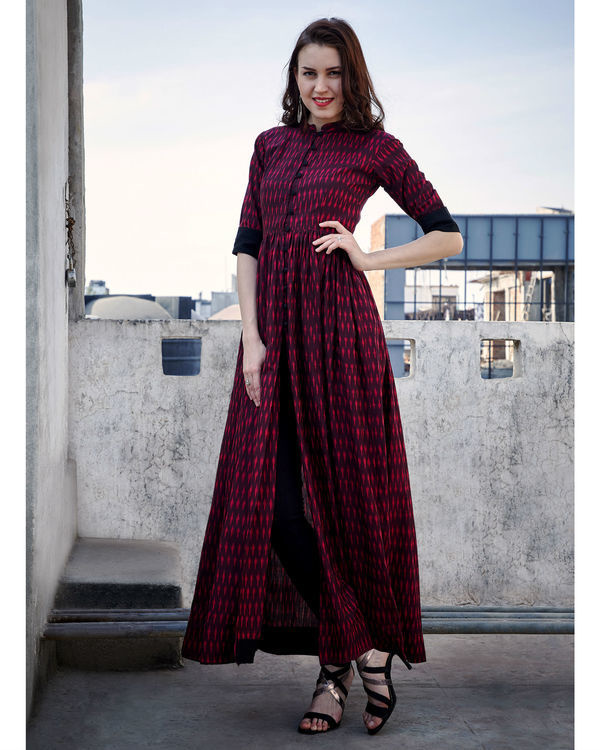 Wine red gathered cape 2