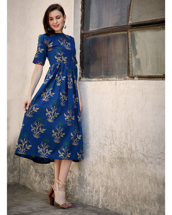 Blue printed flared dress 1