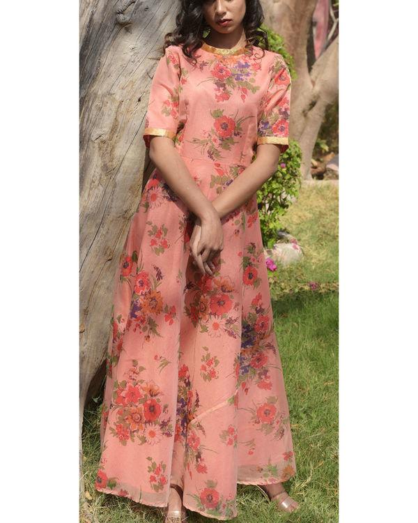 Peach printed dress 1