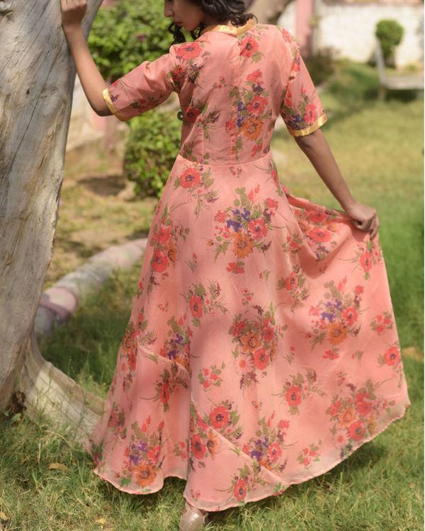 Peach printed dress 2