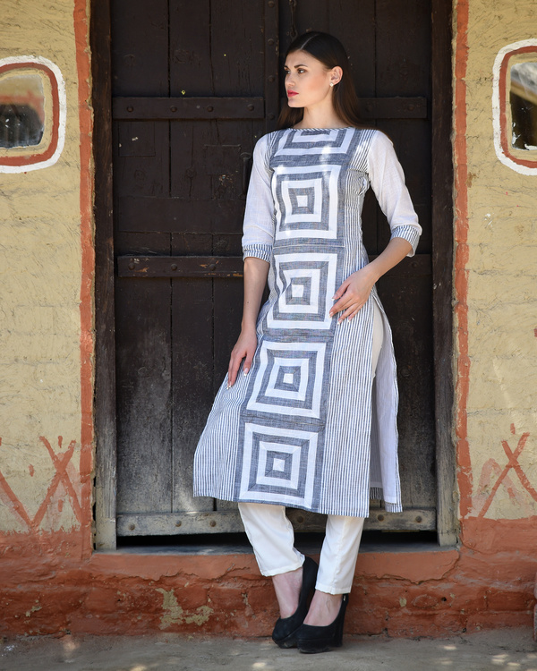 White and grey printed kurta with pants 1