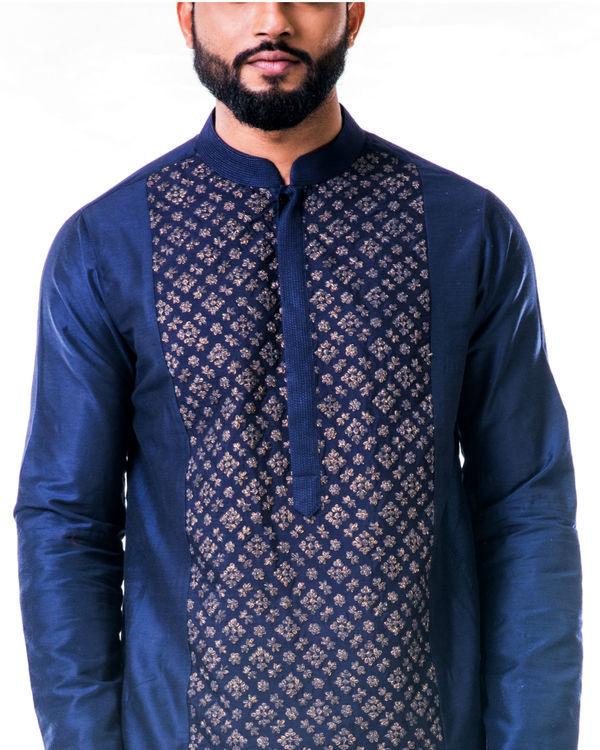 Blue gold embroidery silk kurta set 1
