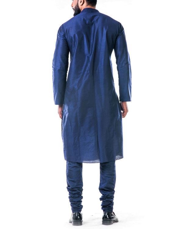 Blue gold embroidery silk kurta set 3