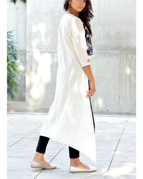 Block print jacket kurta 1